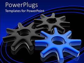 Presentation theme consisting of a number of gears with bluish background