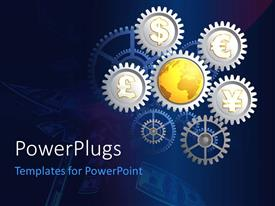 Colorful presentation theme having a number of gears with currency signs and bluish background