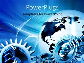 PPT theme consisting of a number of gears with globe in the background