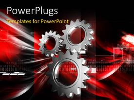 PPT layouts with a number of gears and a reddish background