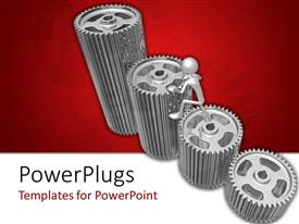 Audience pleasing presentation theme featuring a number of gears with reddish background