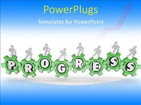 Beautiful presentation with a number of greenish gears with bluish background