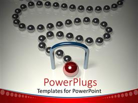 Beautiful PPT layouts with a number of grey balls being lead by a red ball