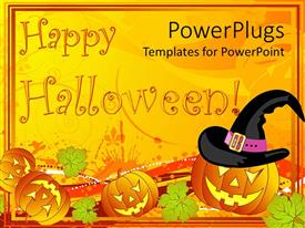 Amazing theme consisting of a number of Halloween pumpkin figures and celebration stuff