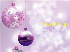 PPT theme having a number of hanging decoration balls with purple background
