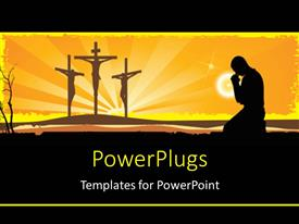 Amazing presentation theme consisting of a number of holy crosses with yellowish background