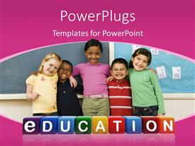 Presentation consisting of a number of kids with bluish background and place for text