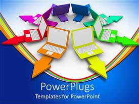 Elegant presentation theme enhanced with a number of laptops pointing in various directions