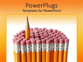 Beautiful presentation theme with a number of lead pencils with a sharpen one