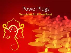 PPT theme with a number of lights with reddish background and Hinduism sign