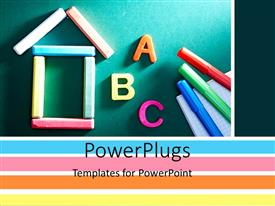 Elegant PPT theme enhanced with a number of marker colors with alphabets and green board