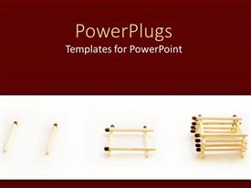 Theme with a number of matchsticks in piles with brownish background
