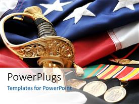 Audience pleasing PPT theme featuring a number of medals and a sword with American flag
