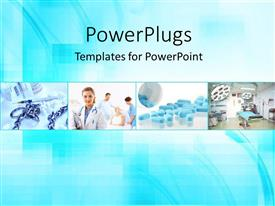 Presentation theme enhanced with a number of medical related people with bluish background