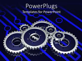 Audience pleasing presentation theme featuring a number of metallic gears attached to each other