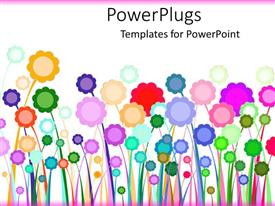 Elegant PPT layouts enhanced with a number of multi-colored flowers with white background