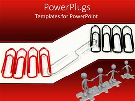 PPT theme consisting of a number of paper clips with white background