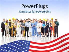 Presentation design with a number of people with American flag at the bottom