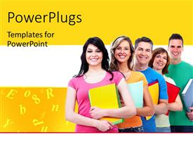 Presentation theme enhanced with a number of people being happy with yellowish background