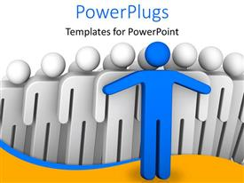 PPT layouts enhanced with a number of people with a blue one leading them all