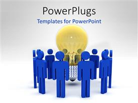 Beautiful PPT theme with a number of people with a bulb in the middle