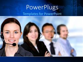Beautiful presentation with a number of people in a call centre with bluish background
