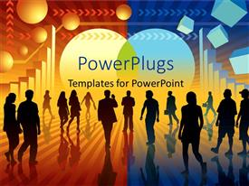 Colorful PPT layouts having a number of people with a colorful background