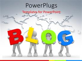 Colorful presentation theme having a number of people holding the word blog