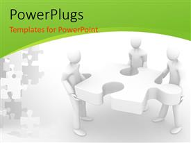 PPT theme with a number of people with a puzzle piece and white background