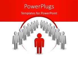 Elegant presentation theme enhanced with a number of people with a reddish background