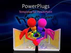 Colorful PPT theme having a number of people shaking their hands with bluish background