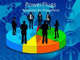 PPT theme enhanced with a number of people standing together on a circle talking to each other