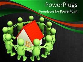 Elegant PPT theme enhanced with a number of people surrounding a house