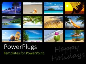 Elegant PPT theme enhanced with a number of pictures depicting the enjoyment on the beach