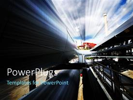 PPT theme featuring a number of pipelines with sky in the background