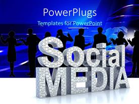 Presentation theme with a number of professionals with the words social media