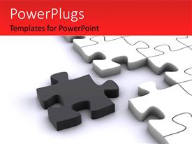 PPT layouts with a number of puzzle pieces with white background