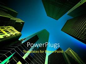 Amazing presentation design consisting of a number of sky scrappers with bluish background and place for text