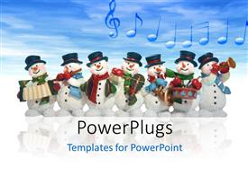 Colorful PPT theme having a number of snowmen with clouds in background