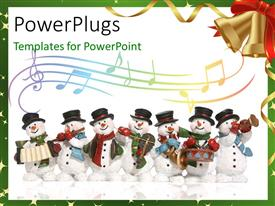 Beautiful PPT layouts with a number of snowmen with music instruments