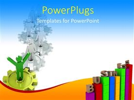 Amazing PPT theme consisting of a number of tables and gears with bluish background