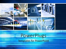 Elegant PPT theme enhanced with a number of travelling ways with bluish background