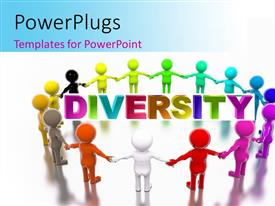 PPT theme having a number of various colored figures with the word diversity