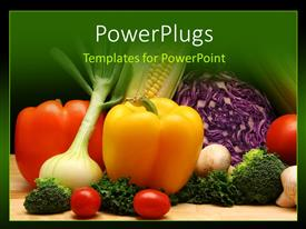 Beautiful presentation design with a number of vegetables with green background