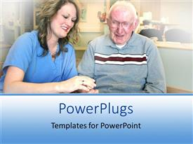 PPT theme with a nurse attending to an adult elderly male in a hospital setting