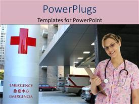 Elegant slides enhanced with nurse in pink scrubs in hospital parking garage near emergency sign