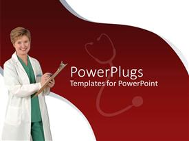 Colorful presentation design having nurse in white overall smiling as she takes notes