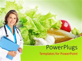 Amazing presentation design consisting of a nutritionist with salad in the background