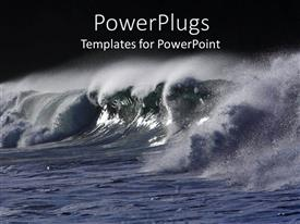 Presentation design having ocean water with big waves spreading water sprays with black background