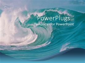 Colorful presentation theme having ocean waves crashing, beach, blue sky